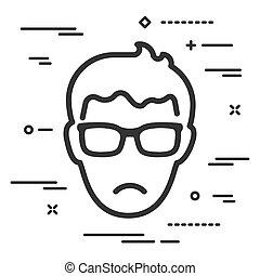 mann, linien, brille, hintergrund, wohnung, weißes, unglücklich, ikone, kopf