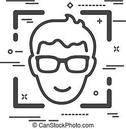 mann, linien, wohnung, brille, ikone, kopf, weißes, glücklich, hintergrund