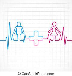 mann, machen, weibliche , &medical, herzschlag