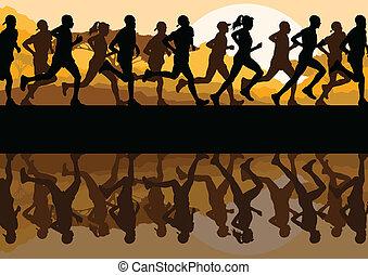 mann, marathonläufer, frauen