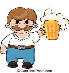 Mann mit Bier.
