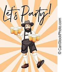Mann mit Biergläsern mit Phrasen lasst uns feiern.