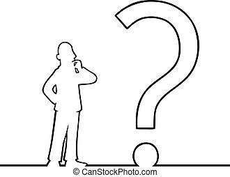 Mann mit einem großen Fragezeichen
