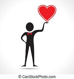Mann mit einer Herz-Ikone