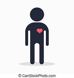 Mann mit Herz in Liebe