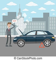 Mann mit kaputtem Auto.