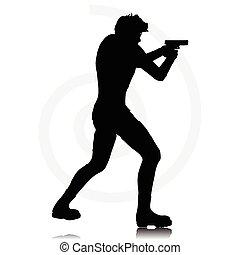 Mann mit Pistole.