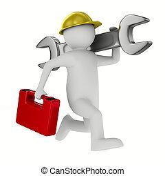 Mann mit Schraubenschlüssel im weißen Hintergrund. 3D-Bild isoliert