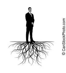 Mann mit Wurzeln. Vector Illustration.