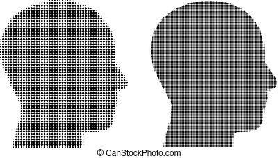 mann, pixel, halftone, profil, ikone