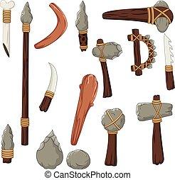 mann, prähistorisch, werkzeuge, satz