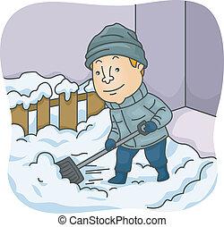 Mann schaufelt Schnee.