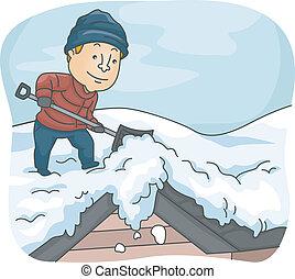 Mann schob Schnee von seinem Dach.