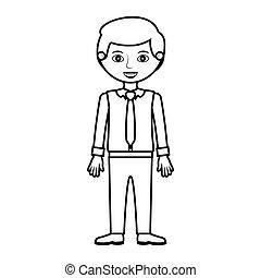 Mann Silhouette mit formellem Hemd und Krawatte.
