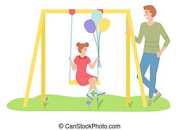 mann, spielende , gehen, schwingen, besitz, töchterchen, rutsche, schwingen, baloons, kind, m�dchen, field.