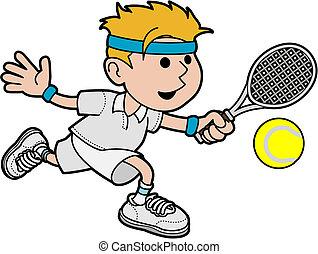 mann, tennis, abbildung, spieler