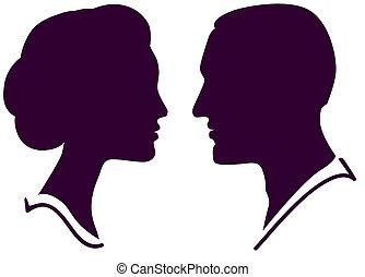 Mann und Frau Gesichtsprofil, Vektor männlichen Paar.