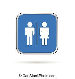 Mann und Frau Ikonen blau und weiß Vektor Silhouette.