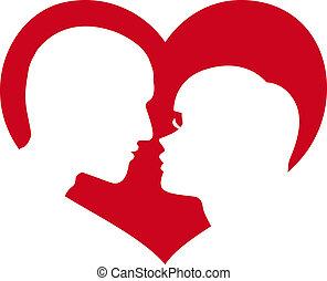 Mann und Frau im Herzen