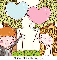 Mann und Frau mit Herzballons und Bäumen.