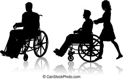 Mann und Frau mit Rollstuhl.