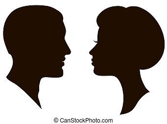 Mann und Frau stehen vor Profilen