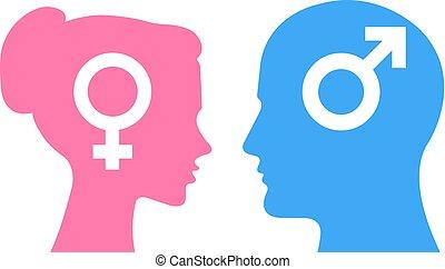 Mann und Frau Vektorköpfe sprechen. Gender-Silhouettenform