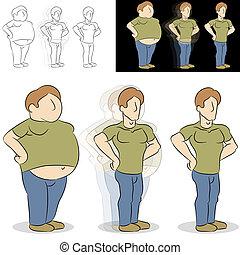 Mann verliert Gewichtsveränderung