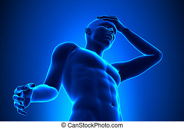 mann, -, volle figur, kopfschmerzen