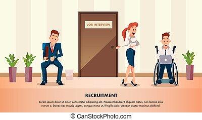 Mann wartet Job-Interview an der Tür. Behinderter Mitarbeiter