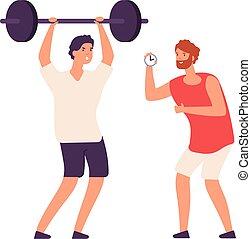 mann, workout, bodybuilder., begriff, persönlich, training., karikatur, trainer, vektor, training, fitness, oder