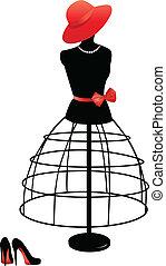 Mannequin mit rotem Hut