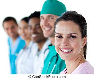 mannschaft, lächeln, fotoapperat, multi-ethnisch, medizin