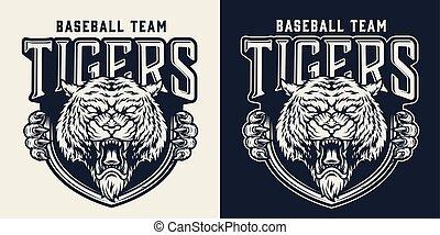 mannschaft, monochrom, emblem, weinlese, baseball