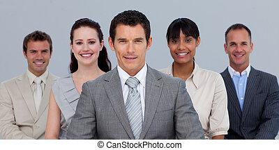 mannschaft, positiv, geschaeftswelt, fotoapperat, multi-ethnisch, front
