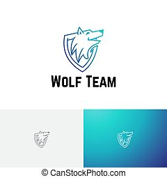 mannschaft, schutzschirm, spiel, wolf, wild, kopf, logo, esport