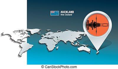 Map Pin mit Auckland Skyline.