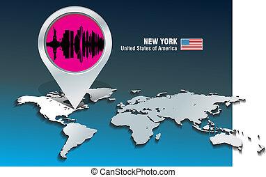 Map Pin mit New York Skyline.