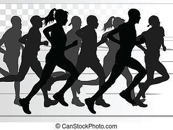 Marathonläufer detaillierten aktiven Mann und Frau Illustration.