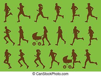 Marathonläufer, detaillierter aktiver Mann und Frau