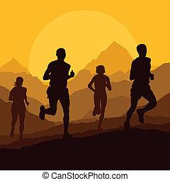 Marathonläufer in wilder Naturlandschaft.
