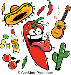 Mariachi Chili Pfeffer mexikanische Ikone.