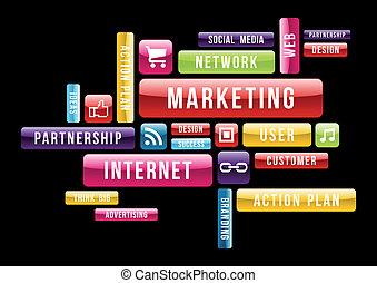 marketing, begriff, internet, wolke, text
