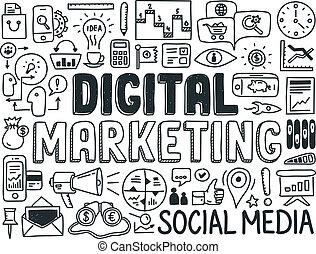 marketing, elemente, satz, digital, gekritzel