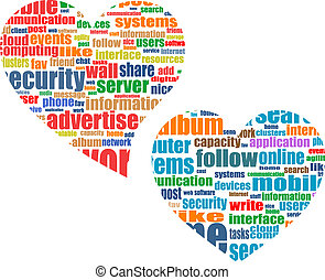 Marketing-Konzept für soziale Medien in Wortmark Cloud im Herzen