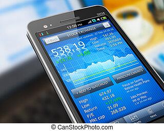 markt, bestand, anwendung, smartphone
