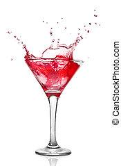 Martini-Cocktail mit Spritzer auf weiß