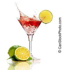 martini, cocktail, spritzen, freigestellt, rotes , limette