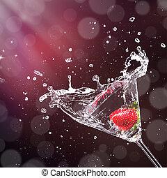 Martini-Drink, der aus Glas spritzt