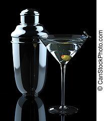 Martini mit Olive und Shaker